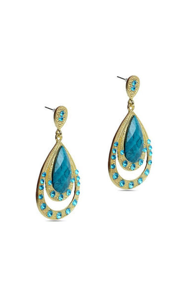 Antique Aqua Drop Earrings - JIHJEAR4520