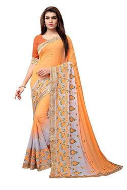YOYO Fashion Embroidered Georgette Orange Saree With Blouse $SARI2612-Orange