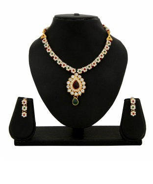 Adoreva Red Green White Gold Plated Alloy Necklace Earrings Set