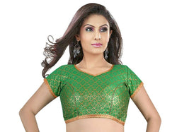 Manvi Fashion Green Color Sweet Heart Neck Readymade Blouse $ MF283