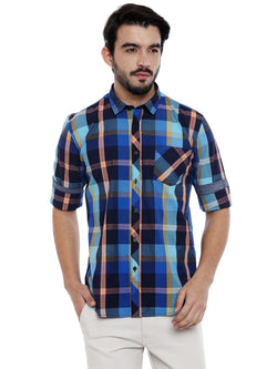 Roller Fashions Full Sleeve Blue Checked Shirts for Men $ TWB06-P