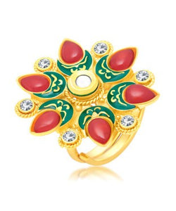Sukkhi Glimmery Gold Plated Ring For Women