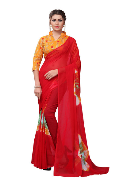 YOYO Fashion Printed Georgette Red Saree With Blouse $ YOYO-SARI2617-Red