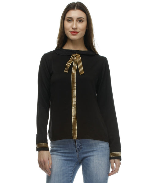 Glam a gal black f/s top