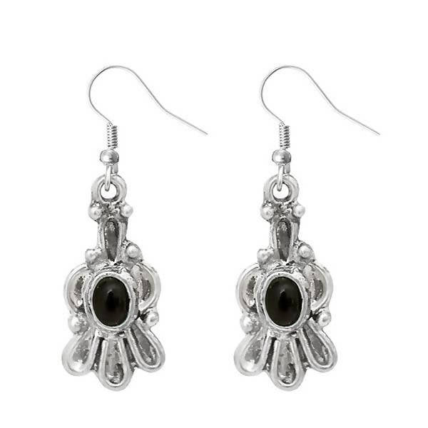 Tanishka Fashion Silver Plated Black Stone Dangler Earrings $ 1303538F
