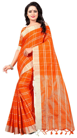 YOYO Fashion Latest Fancy Linan Cottan Orange Saree $ SARI2584 Orange