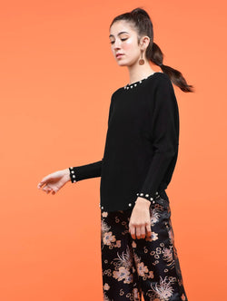 Aiyra Black Color Wollen Pearl embellished dolman sleeved top $ AR15801665_Free