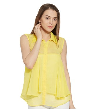 VIRO Sleeveless Classic Collar Georgette fabric Yellow Top