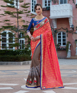 Fashion FizaRed Georgette and Jecard EMBROIDERY Saree with blause pice