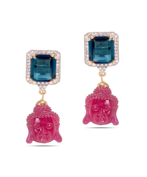 BAUBLE BURST Pink Buddha Earrings