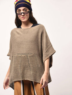 Aiyra Beige Color wollen Boat Neck Oversized Knitted Poncho $ AR15800333_free size