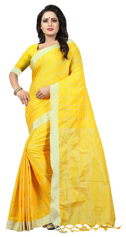 YOYO Fashion Latest Fancy Linan Cottan Yellow Saree $ SARI2584 Yellow