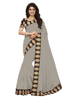 16to60trendz Grey Chanderi Lace Work Chanderi Saree $ SVT00061