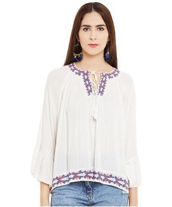 Miway White Embroidery Top