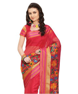Laethnic Red Mercerised Embroidered Saree