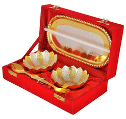 INTERNATIONAL GIFT German Silver & Gold Bowl with Spoon with Tray and Velvet Box (Gold) - Set of 5 Pieces $ IGSPBR101