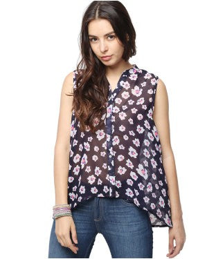 American Swan Navy And Multi S/L Top