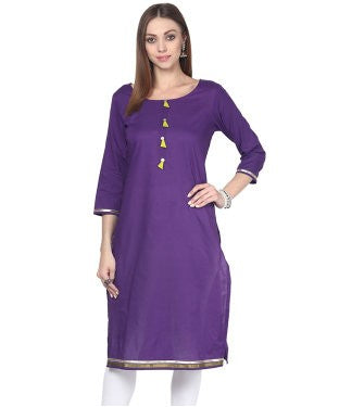 Darzaania Purple Solid Cotton Kurta