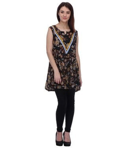 Blue Lotus Black And Multi Tunic