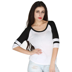 London Rag Womens Round Neck Rib White Color Top-CL7239