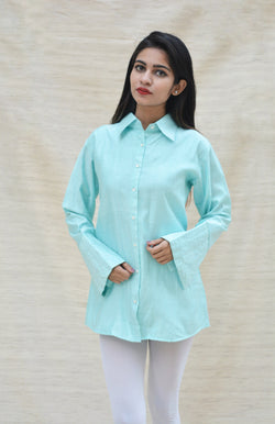 Firozi Blue Khadi Silk Shirt Collar Top $ IWK-000272