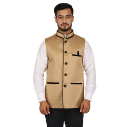 Singhal Fashion Brown Pipin Jute Nehru Jacket