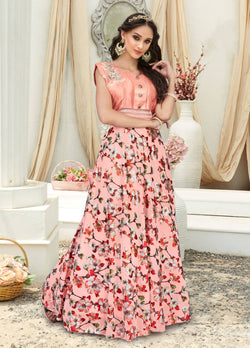 Manvi Fashion Women's Pink Color Jacquard & Net Fabric Embroidery Work Gown $ MF 2547