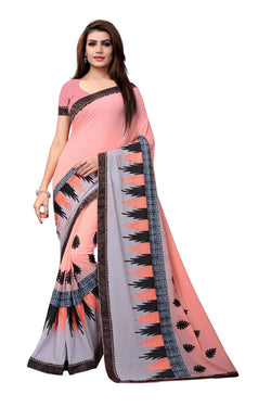 YOYO Fashion Embroidered Georgette Peach Saree With Blouse $ SARI2615-Peach