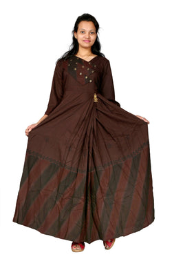 MV FASHION Reyon Cotton Embroidered & Slab Brown Gown $ MV_G_1205