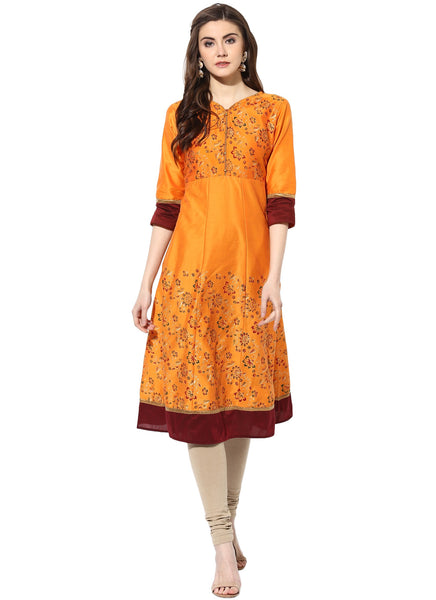 Mytri Women's Orange Poly Cotton Printed Anarkali Kurta $ 9000488-ORANGE