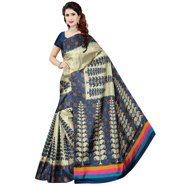 BL Enterprise Women's Bhagalpuri Cotton Silk Blue Color Saree With Blouse Piece $ BLLB-51