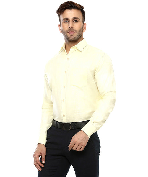 Lee Marc Full Sleeve Lm Lemon Formal Shirt