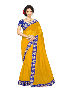 16to60trendz Yellow Chanderi Lace Work Chanderi Saree $ SVT00085