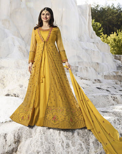 YOYO Fashion Nylon Net Yellow Embroidered Semi-stitched Anarkali Salwar Suit $ YO2-F1264