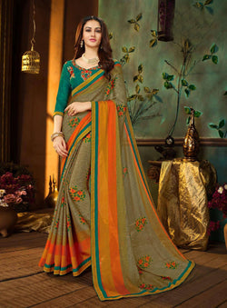 Fashion Zonez Printed Rangoli Georgette Multi Designer Saree With Blouse $ FZ 2659