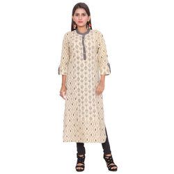 Chhapai 3/4 Sleeve Printed Grey Straight Cotton Kurti $ CK-1019