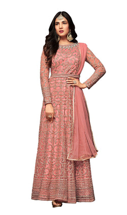 YOYO Fashion Orange Net Anarkali Semi-Stitched Salwar Suit With Dupatta $ F1283-Orange