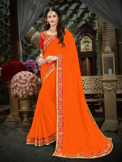 Fashion Zonez Zari Embroidered with lace border Georgette Orange Designer Saree With Blouse $FZ 1994
