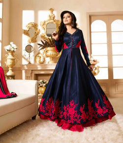 YOYO Fashion Designer Banglory Silk Embroidered Anarkali Gown $ Bipo-08