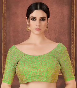 Manvi Fashion Green Color Embroidery Work Two Ton Silk in Fabric Party Wear Readymade Blouse $ MF 3112