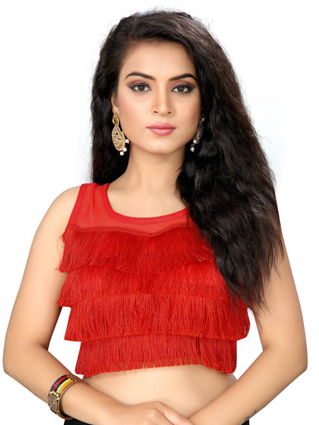 YOYO Fashion Red Silk Solid Blouse & YO-BL4010-Red