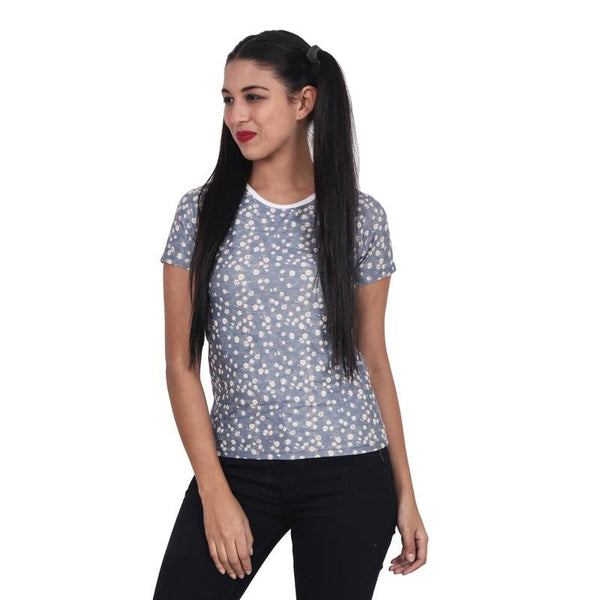 Second Half Flower Print Basic Top with Piping-SH0067