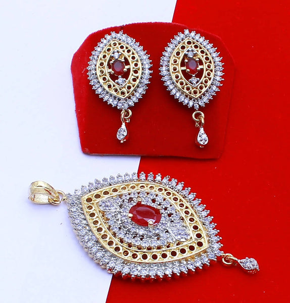 Ankita Fashion Gold Plated American Diamond AD Red Tilak pendant set $ AF78861240