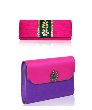 Gota Vine Clutch + Kalgi Blue Clutch