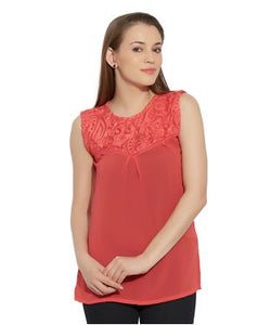 VIRO Sleeveless Round Neck Georgette fabric Pink TOP