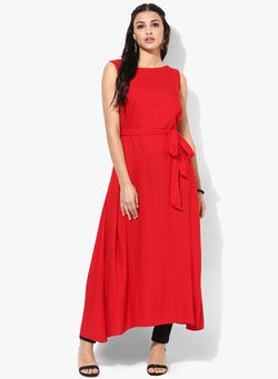 Fuoko  Red Color Crepe Women Partywear Kurtis - FWAPKU017RED
