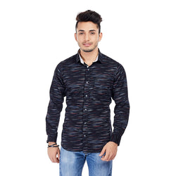 EVOQ Black Printed Shirt With Contrasting Collar Band And Inside Of Button Placket-Black Meteor_Black
