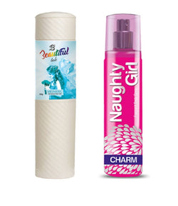 BEAUTIFUL TALC 250gm MESMERIC & Naughty Girl CHROME 135 ml (Set of 2 for Women)