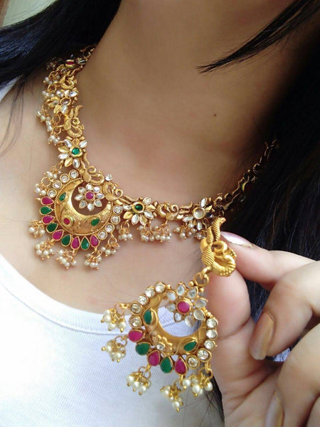 Gold Plated Alloy Metal Hand Crafted Work Women's Jumki Kundan Necklace set $ AF788643