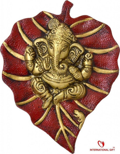 Ganesh Red Leaf Wall Hanging Exclusive Gift for Diwali Gift, Wedding Gift, Birthday Gift and Corporate Gift Item $ GSI-150